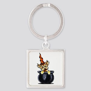 Yorkie Witch Square Keychain