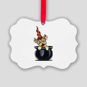 Yorkie Witch Picture Ornament
