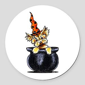 Yorkie Witch Round Car Magnet