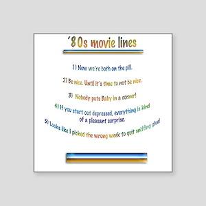"80s film lines Square Sticker 3"" x 3"""