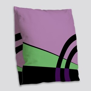 Violet and Green Majestic Burlap Throw Pillow