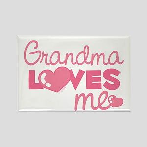 Grandma Love Me (pink) Rectangle Magnet