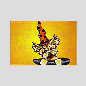 Yorkie Witch Hat Rectangle Magnet