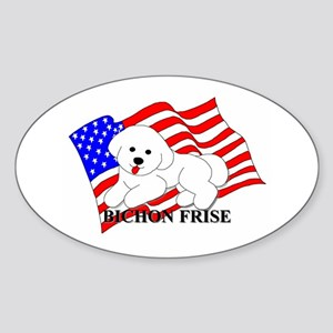 Bichon Frise USA Sticker (Oval)