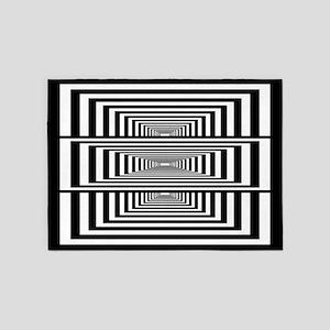 Optical Illusion Rectangles 5'x7'Area Rug