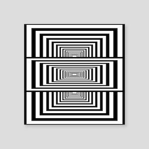 "Optical Illusion Rectangles Square Sticker 3"" x 3"""