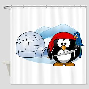 Pirate Penguin In Antarctica Shower Curtain