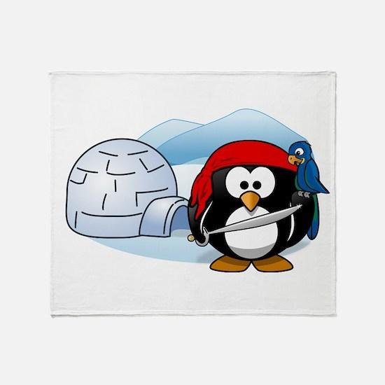 Pirate Penguin In Antarctica Throw Blanket