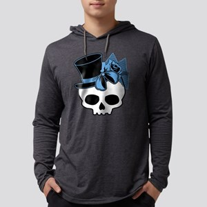 skull-hat-blue Mens Hooded Shirt