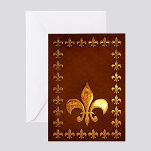 Old Leather with gold Fleur-de-Lys Greeting Card