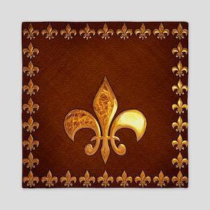 Old Leather with gold Fleur-de-Lys Queen Duvet