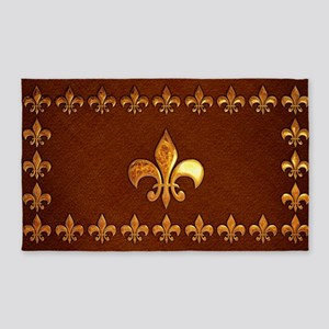 Old Leather with gold Fleur-de-Lys 3'x5' Area Rug