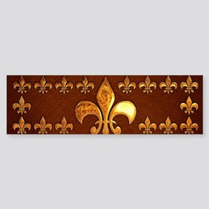 Old Leather with gold Fleur-de-Lys Sticker (Bumper