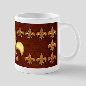 Old Leather with gold Fleur-de-Lys Mug