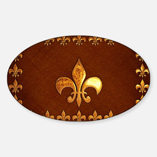 Old Leather with gold Fleur-de-Lys Sticker (Oval)