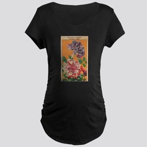Vintage French Flowers Seed Pack Maternity T-Shirt
