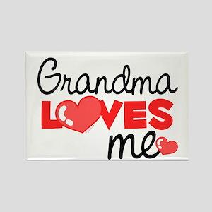 Grandma Love Me (red) Rectangle Magnet