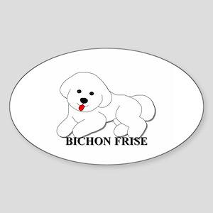 Cartoon Bichon Frise Sticker (Oval)