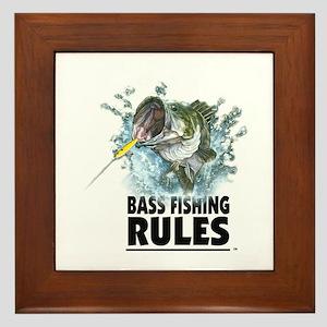 BASS FISHING RULES...STRIKE! Framed Tile