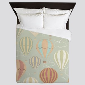Vintage Hot Air Balloons Queen Duvet