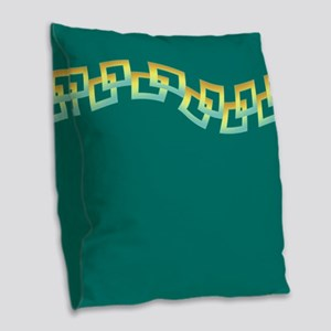 Teal Green Squares Burlap Throw Pillow