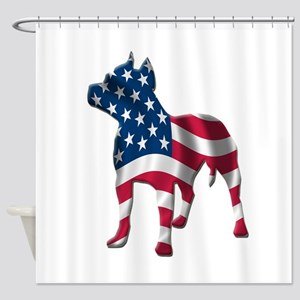 pit bull usa silhouette Shower Curtain