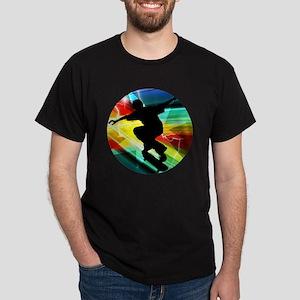 Skateboarding on Criss Cross Lightnin Dark T-Shirt
