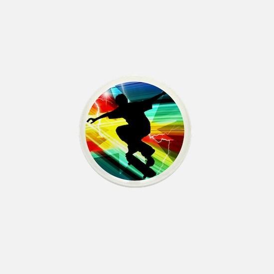 Skateboarding on Criss Cross Lightning Mini Button