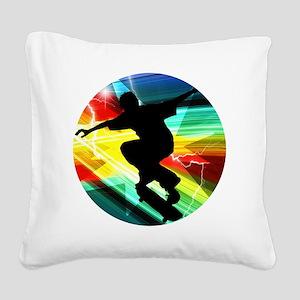 Skateboarding on Criss Cross  Square Canvas Pillow