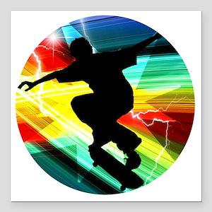 "Skateboarding on Criss C Square Car Magnet 3"" x 3"""