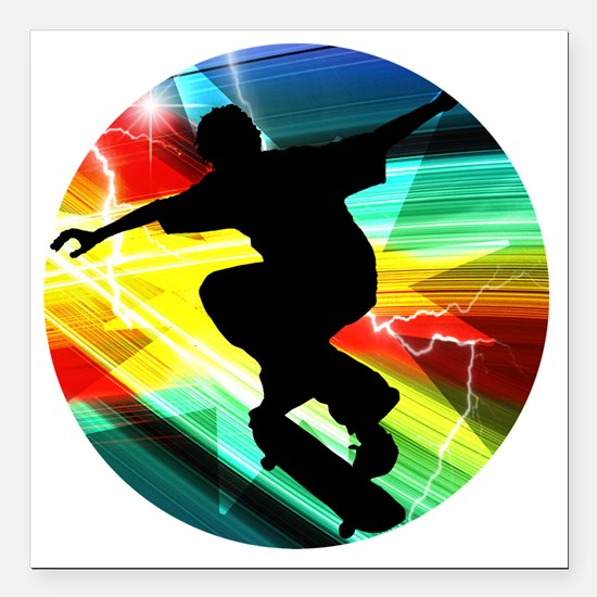 "Skateboarding on Criss C Square Car Magnet 3"" x 3"""