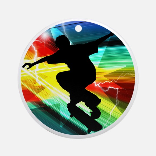 Skateboarding on Criss Cross Lightn Round Ornament