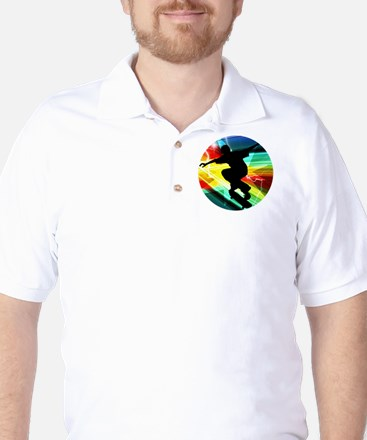 Skateboarding on Criss Cross Lightning Golf Shirt