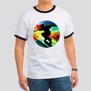 Skateboarding on Criss Cross Lightning Ringer T