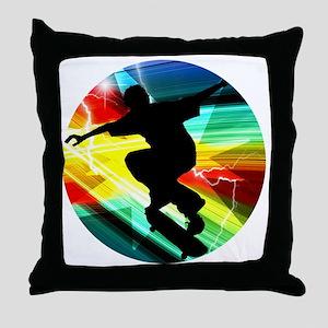 Skateboarding on Criss Cross Lightnin Throw Pillow