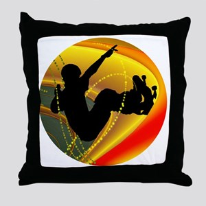Skateboarding Silhouette in the Bowl Throw Pillow