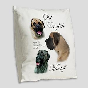 English Mastiff Burlap Throw Pillow