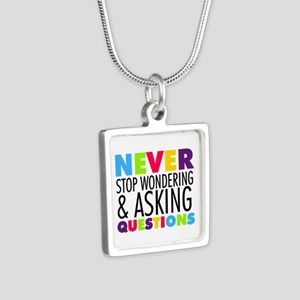 Never Stop Wondering Silver Square Necklace