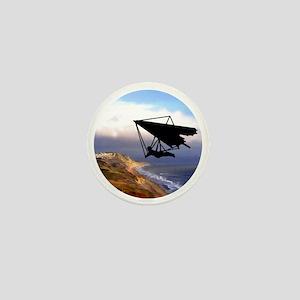 Hang Gliding Over the California Coast Mini Button