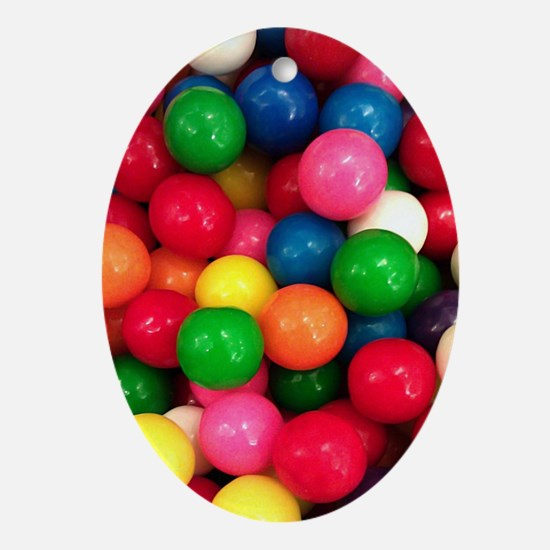 Colorful Gumballs Picture Oval Ornament
