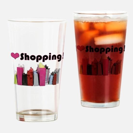 I Love Shopping Drinking Glass