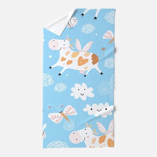 Whimsical Flying Cows Beach Towel