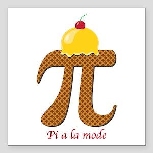 "Pi a la mode Square Car Magnet 3"" x 3"""