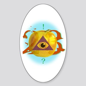 Illuminati Golden Apple Oval Sticker