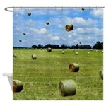 Country Farmer Hay Bails Flying Shower Curtain