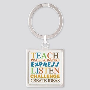 Teacher Creed Square Keychain