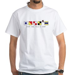 Men's US Navy Ship Flags White T-Shirt