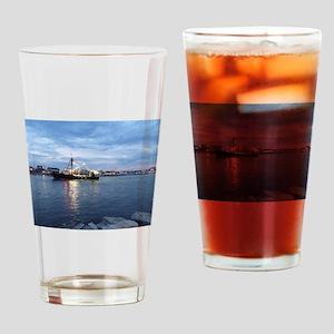 Night Fishing Boat Drinking Glass