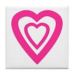 Double Pink Open Heart Tile Coaster