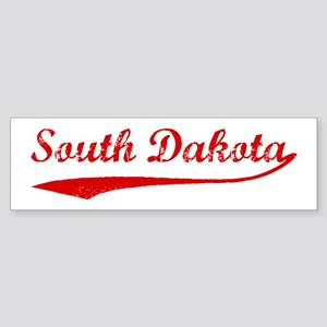 Red Vintage: South Dakota Bumper Sticker